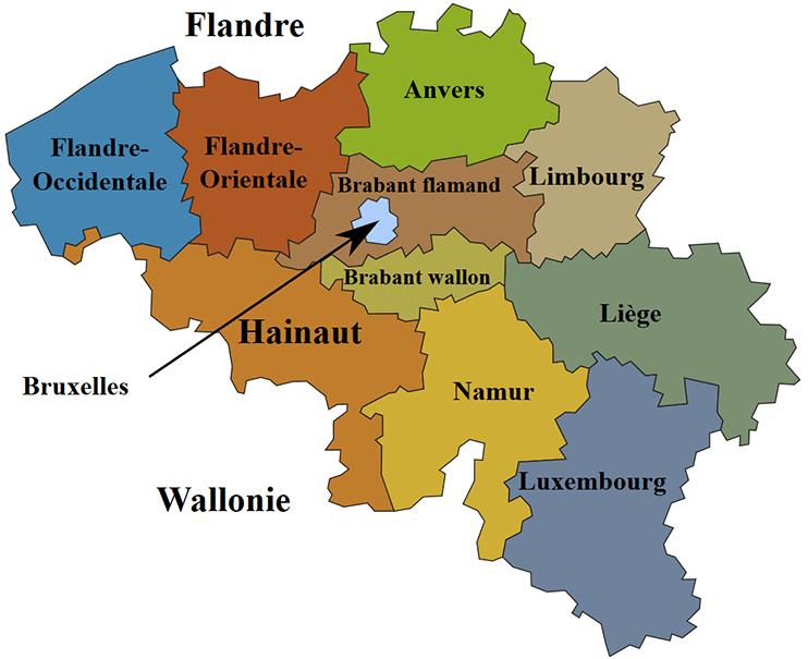 Carte des provinces de la Belgique